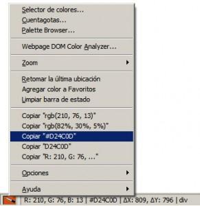 Opciones del menu contextual del ColorZilla