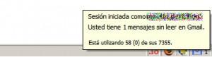 Gmail Notifier mostrando el estado de una de mis cuentas