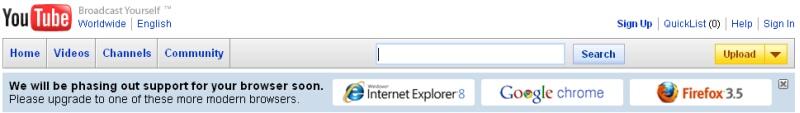 YouTube no dará más soporte al Internet Explorer 6